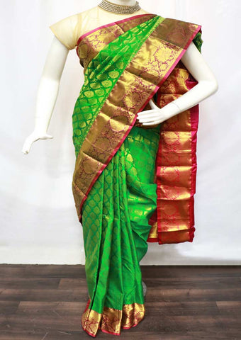 Green With Pink Kanchipuram Silk Saree - GE57117 ARRS Silks