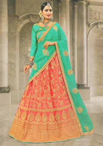 Green with Pink Lehenga - FS20676 ARRS Silks
