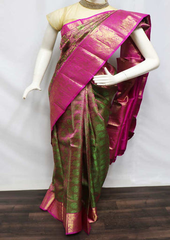 Green with Pink Pattu Saree - 9KA2638 ARRS Silks