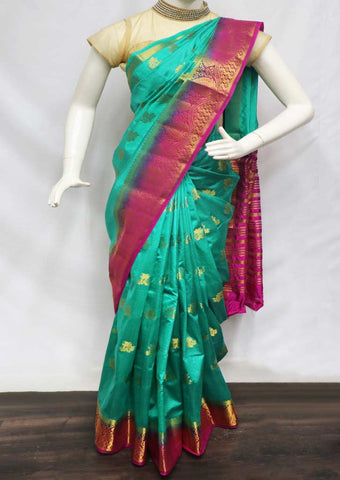 Green with Pink Pure Raw Silk Saree - GB89798 ARRS Silks