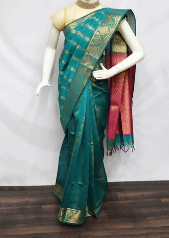 Green with Pink Pure Silk Cotton Saree - FV10371 ARRS Silks