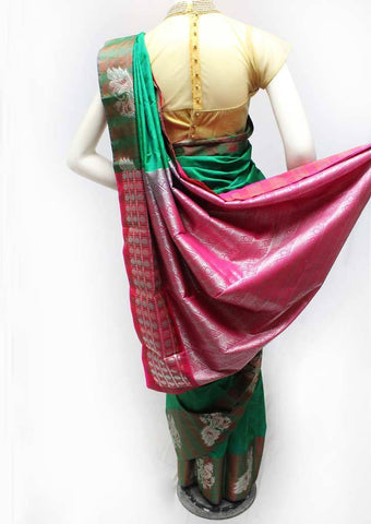 Green with Pink Semi Silk Saree- FR33546 ARRS Silks