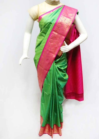Green with Pink Semi Silk Saree- FS43798 ARRS Silks