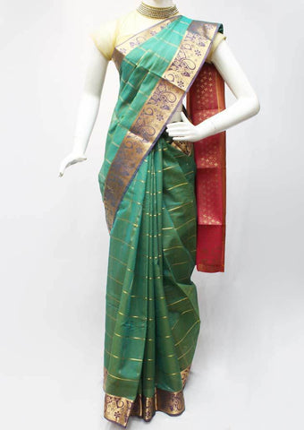 Green with pink Silk Cotton Saree - FR123687 ARRS Silks