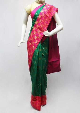 Green with Pink Silk Cotton Saree - FR27919 ARRS Silks