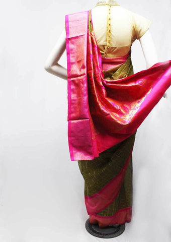Green with pink Silk Cotton Saree - FR29207 ARRS Silks