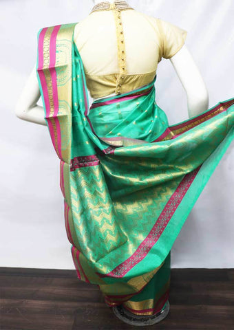 Green With Pink Silk Cotton Saree - FR47165 ARRS Silks