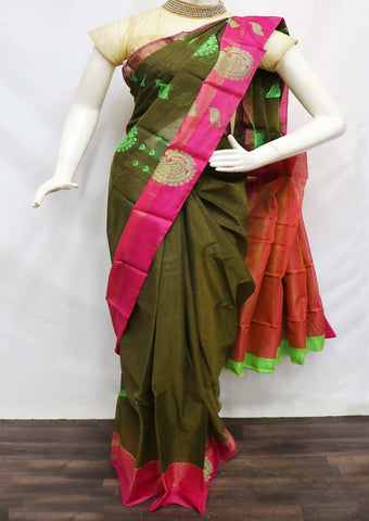 Green With PInk Silk Cotton Saree - FU27700 ARRS Silks