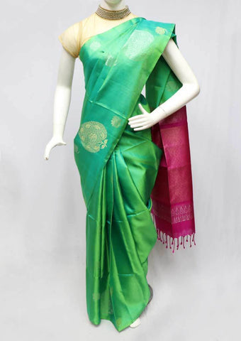 Green with Pink Soft Silk Saree -FL84665 ARRS Silks