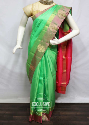Green With Pink Soft Silk Saree - FU45053 ARRS Silks