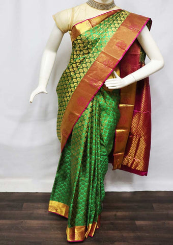 Green With Pink Wedding Silk Saree - FV6934 ARRS Silks
