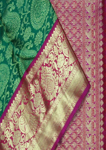 Green With Pink Wedding Silk Saree - HBB1175 ARRS Silks