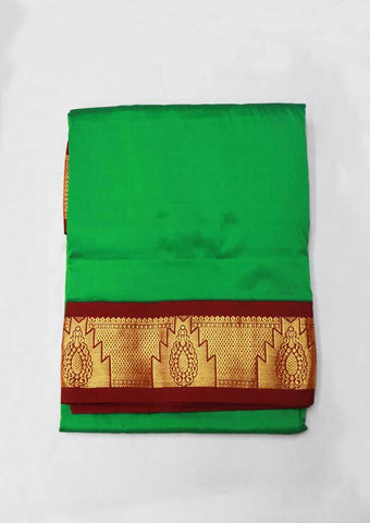 Green With Red Art Silk 9.5 yards Saree - GG10709 ARRS Silks