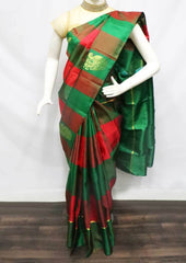 Green with Red Checked  Kanchipuram Silk Saree -FS24958 ARRS Silks
