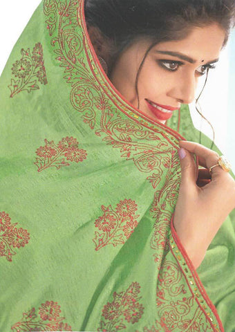 Green with Red Color Fancy Saree-FS7578 ARRS Silks