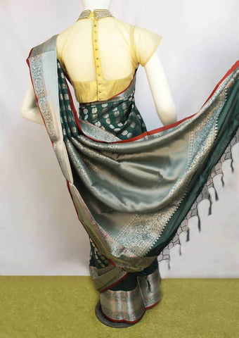 Green with Red Fancy Saree-FM112899 ARRS Silks