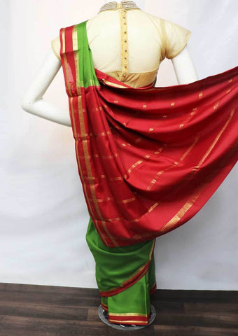 Green with Red Mysore Silk Saree - FR46753 ARRS Silks