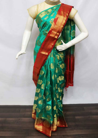 Green with Red Semi Raw Silk Saree - FS8224 ARRS Silks