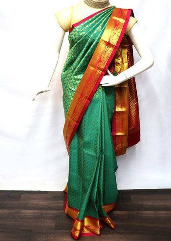 Green with Red Semi Silk Saree - FV2427 ARRS Silks