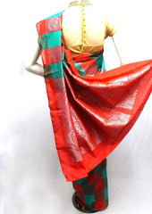 Green with Red Silk Cotton Saree - FL59472 ARRS Silks