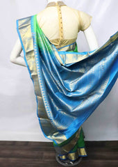 Green with Sky blue Kanchipuram Silk Saree -FQ31409 ARRS Silks