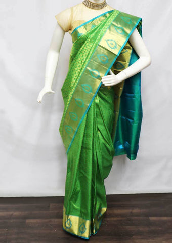 Green With Sky Blue Kanchipuram Silk Saree -FV28082 ARRS Silks