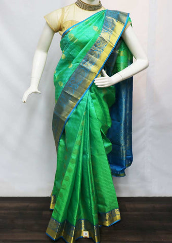 Green With Sky Blue  Kanchipuram Silk Saree -GB110910 ARRS Silks