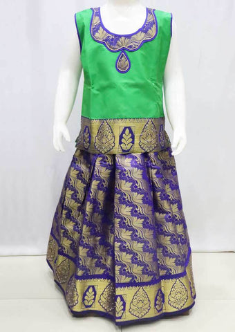 Green with Violet Pattu Pavadai -FR21644  (Size : 8 Years ) ARRS Silks