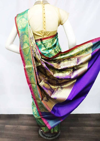 Green with Violet Semi Silk Saree - FO13324 ARRS Silks