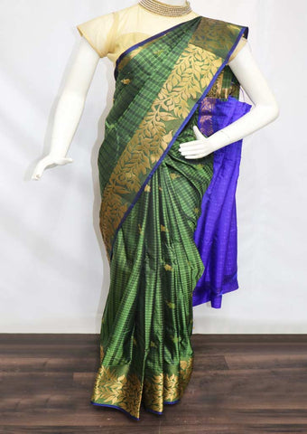 Green With Violet semi silk saree  - FZ43995 ARRS Silks