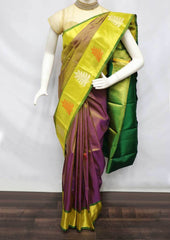 Green With Violet Shade Kanchipuram Silk Saree - 9KA6041 ARRS Silks