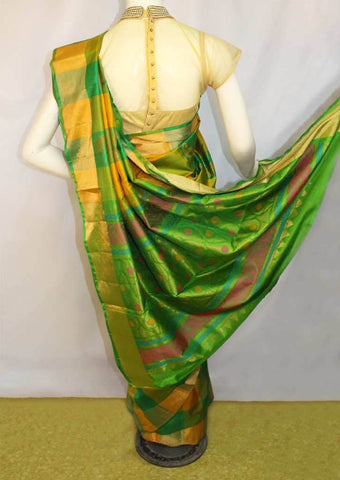 Green With Yellow Checked Soft Silk Saree -FN68309 ARRS Silks
