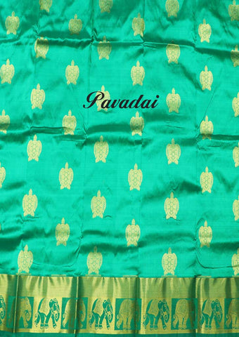 Green With Yellow Pure silk Unstitched pattu pavadai - FP28494 ( Age-Below 1.5 year,2 year,2.5 year,3 year ARRS Silks