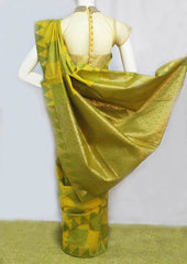 Green With Yellow Silk Cotton Saree - FO1873 ARRS Silks