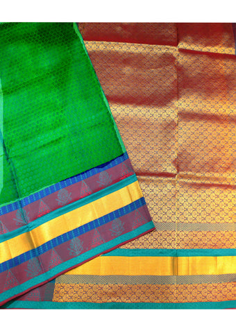 Green With Brown  Light weight Kanchipuram Silk Saree