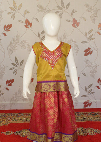 Mustard Yellow Art Silk Pavadai