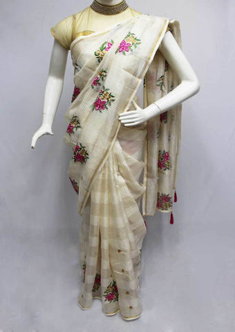Half White Fancy saree -FQ121271 ARRS Silks