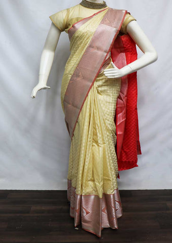 Half white semi silk saree  - FZ44079 ARRS Silks