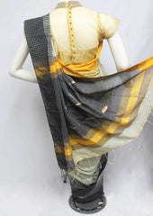 Half White with Black Color Linen Saree - FP9909 ARRS Silks