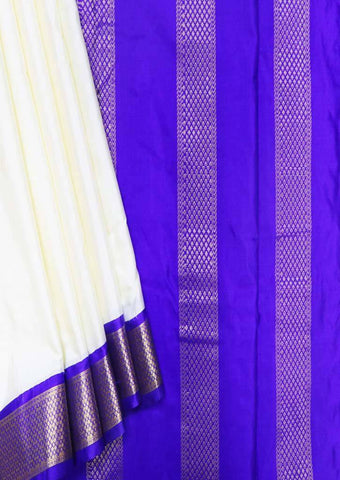 Half White with Blue 9.5 Yards Silk Saree - FP53507 ARRS Silks