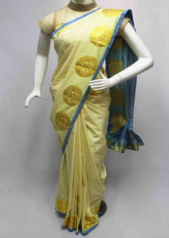 Half White with Blue Semi Silk Saree- FQ88213 ARRS Silks