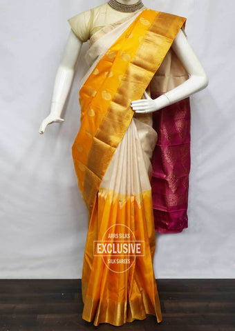 Half White With Mango Yellow Kanchipuram Silk Saree - FG5750 ARRS Silks