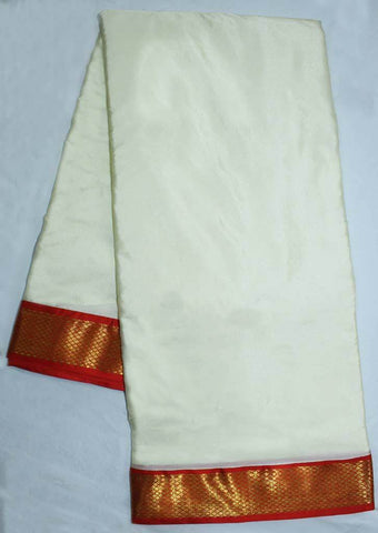 Half White with Orange Coloured 9.5 Yards Silk Saree - FP53509 ARRS Silks