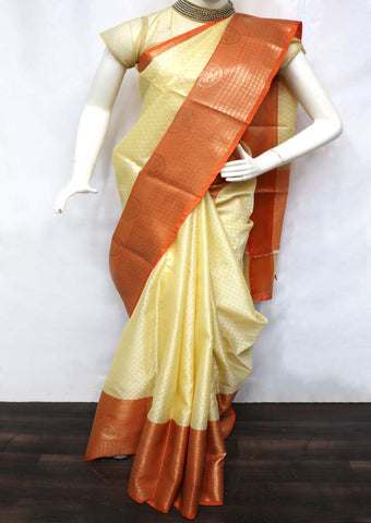 Half white with Peach Kora Muslim Cotton Sarees - GF39273