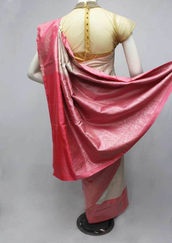 Half White with Peach Soft Silk Saree -FQ38998 ARRS Silks