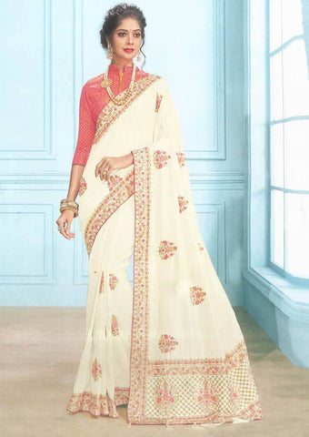 Half White with Pink Color Fancy Saree-FS7562 ARRS Silks