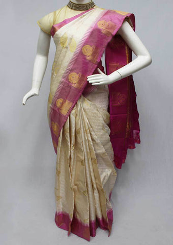 Half White with Pink Kanchipuram Silk Saree-FQ18358 ARRS Silks