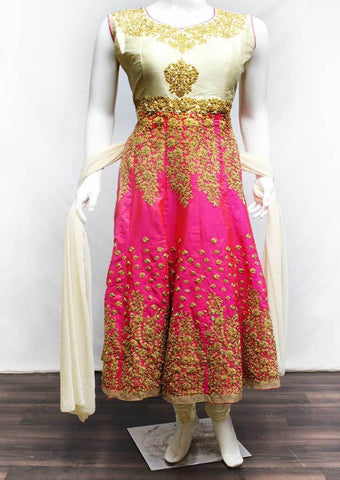 Half White with Pink Readymade Salwar-FR87879 ARRS Silks