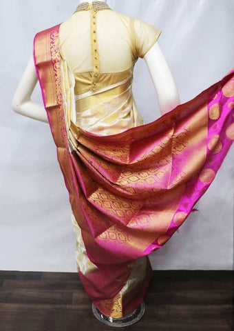 Half white with Pink Semi Raw Silk Saree - FS8223 ARRS Silks