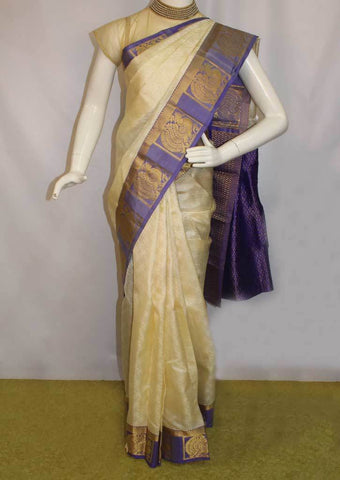 Half White With violet  Kanchipuram Silk Saree-FF31925 ARRS Silks